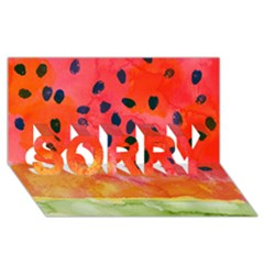 Abstract Watermelon Sorry 3d Greeting Card (8x4) by DanaeStudio