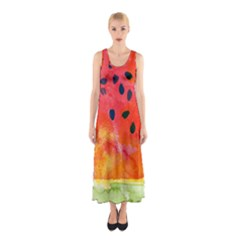 Abstract Watermelon Sleeveless Maxi Dress by DanaeStudio