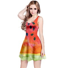 Abstract Watermelon Reversible Sleeveless Dress