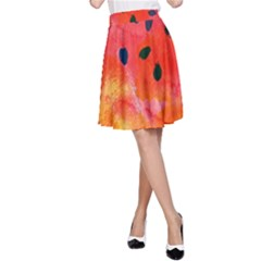 Abstract Watermelon A-line Skirt by DanaeStudio