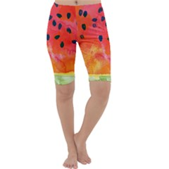 Abstract Watermelon Cropped Leggings