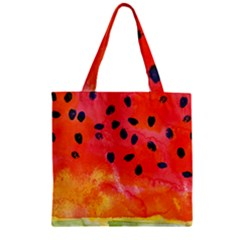 Abstract Watermelon Zipper Grocery Tote Bag by DanaeStudio