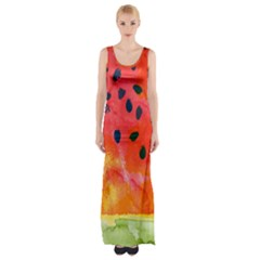 Abstract Watermelon Maxi Thigh Split Dress by DanaeStudio
