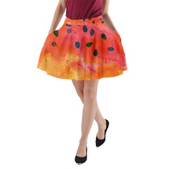 Abstract Watermelon A Line Pocket Skirt