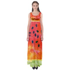Abstract Watermelon Empire Waist Maxi Dress by DanaeStudio