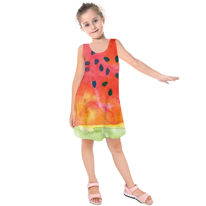 Abstract Watermelon Kids  Sleeveless Dress