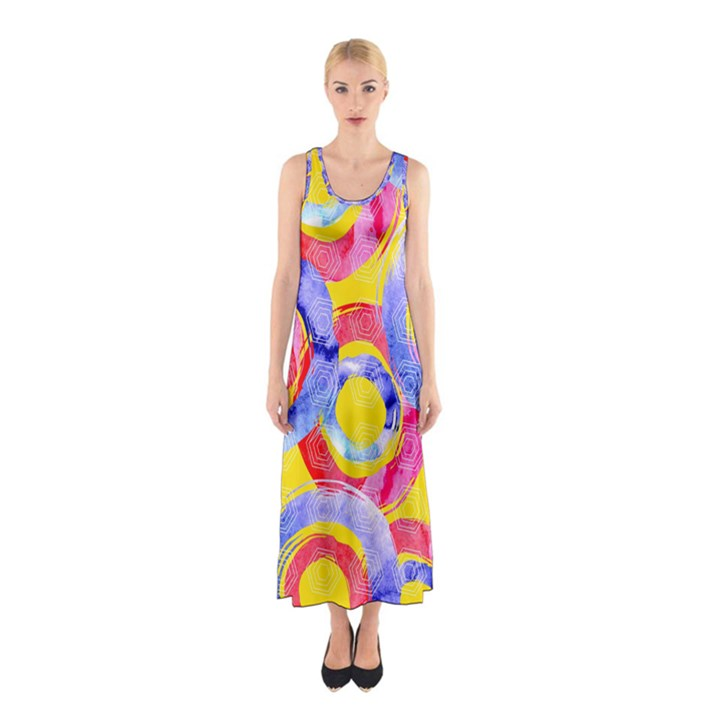 Blue And Pink Dream Sleeveless Maxi Dress
