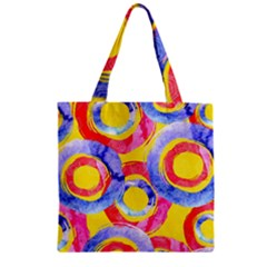 Blue And Pink Dream Zipper Grocery Tote Bag by DanaeStudio