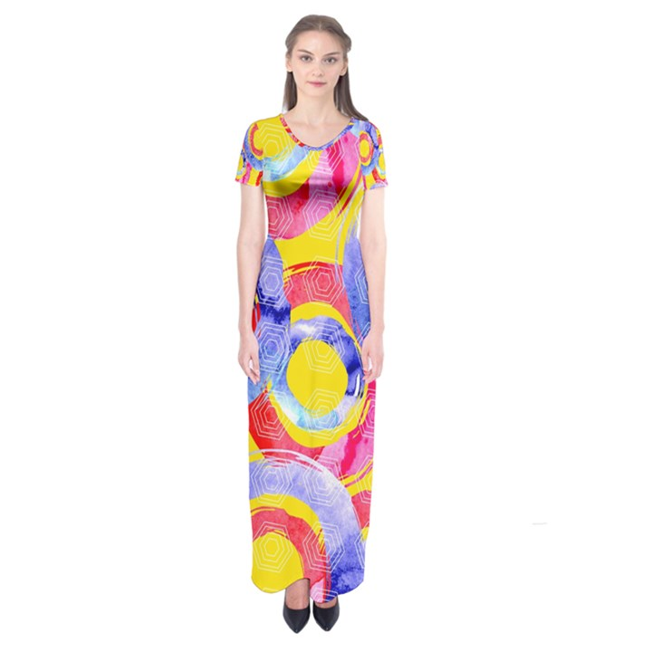 Blue And Pink Dream Short Sleeve Maxi Dress