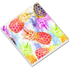 Colorful Pineapples Over A Blue Background Small Memo Pads