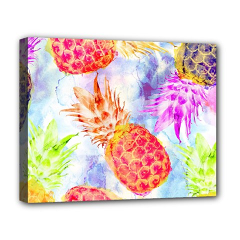 Colorful Pineapples Over A Blue Background Deluxe Canvas 20  X 16