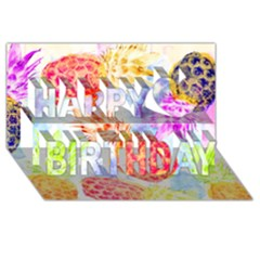 Colorful Pineapples Over A Blue Background Happy Birthday 3d Greeting Card (8x4)