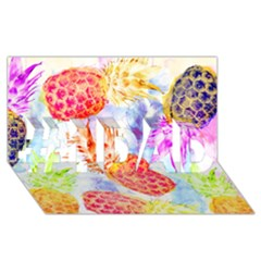 Colorful Pineapples Over A Blue Background #1 Dad 3d Greeting Card (8x4)