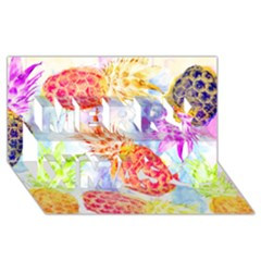 Colorful Pineapples Over A Blue Background Merry Xmas 3d Greeting Card (8x4) by DanaeStudio