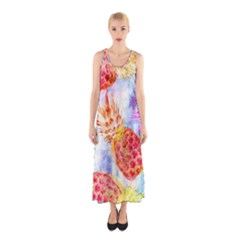 Colorful Pineapples Over A Blue Background Sleeveless Maxi Dress