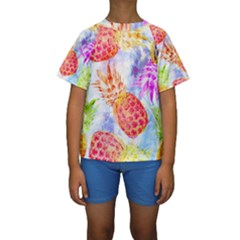 Colorful Pineapples Over A Blue Background Kids  Short Sleeve Swimwear