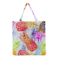 Colorful Pineapples Over A Blue Background Grocery Tote Bag by DanaeStudio