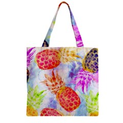 Colorful Pineapples Over A Blue Background Zipper Grocery Tote Bag by DanaeStudio
