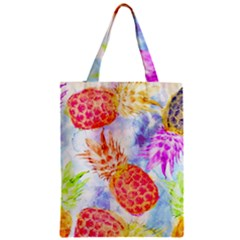 Colorful Pineapples Over A Blue Background Zipper Classic Tote Bag by DanaeStudio