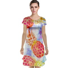 Colorful Pineapples Over A Blue Background Cap Sleeve Nightdress