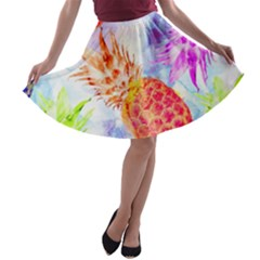 Colorful Pineapples Over A Blue Background A Line Skater Skirt