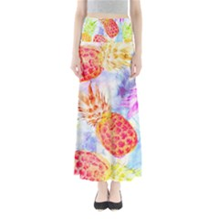 Colorful Pineapples Over A Blue Background Maxi Skirts