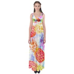 Colorful Pineapples Over A Blue Background Empire Waist Maxi Dress