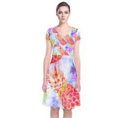 Colorful Pineapples Over A Blue Background Short Sleeve Front Wrap Dress