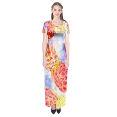 Colorful Pineapples Over A Blue Background Short Sleeve Maxi Dress by DanaeStudio