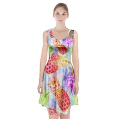 Colorful Pineapples Over A Blue Background Racerback Midi Dress