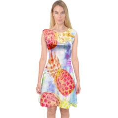 Colorful Pineapples Over A Blue Background Capsleeve Midi Dress
