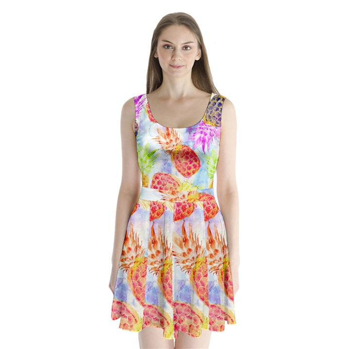 Colorful Pineapples Over A Blue Background Split Back Mini Dress