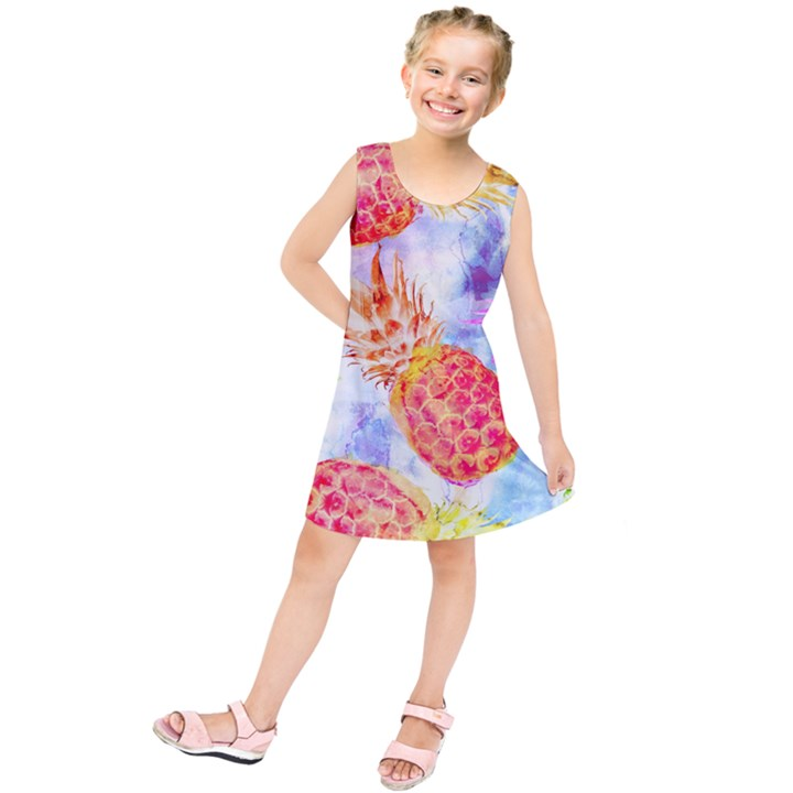 Colorful Pineapples Over A Blue Background Kids  Tunic Dress