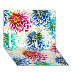 Colorful Dahlias I Love You 3d Greeting Card (7x5) by DanaeStudio