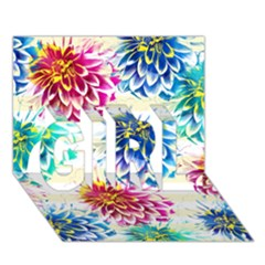 Colorful Dahlias Girl 3d Greeting Card (7x5) by DanaeStudio