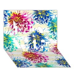 Colorful Dahlias Love 3d Greeting Card (7x5) by DanaeStudio
