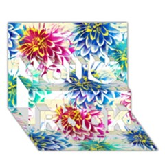 Colorful Dahlias You Rock 3d Greeting Card (7x5) by DanaeStudio