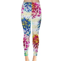 Colorful Dahlias Leggings  by DanaeStudio