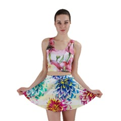 Colorful Dahlias Mini Skirt by DanaeStudio
