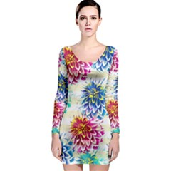 Colorful Dahlias Long Sleeve Bodycon Dress by DanaeStudio