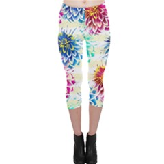 Colorful Dahlias Capri Leggings  by DanaeStudio