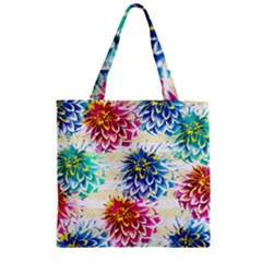 Colorful Dahlias Zipper Grocery Tote Bag by DanaeStudio