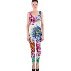 Colorful Dahlias Onepiece Catsuit