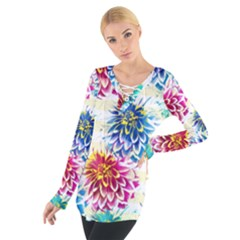 Colorful Dahlias Women s Tie Up Tee by DanaeStudio
