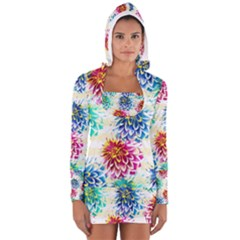 Colorful Dahlias Women s Long Sleeve Hooded T Shirt by DanaeStudio