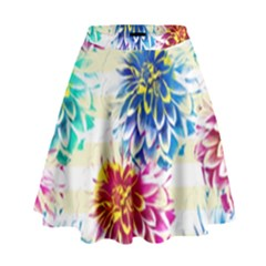 Colorful Dahlias High Waist Skirt by DanaeStudio