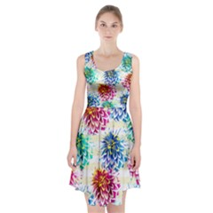 Colorful Dahlias Racerback Midi Dress by DanaeStudio
