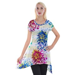 Colorful Dahlias Short Sleeve Side Drop Tunic by DanaeStudio