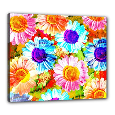 Colorful Daisy Garden Canvas 24  X 20  by DanaeStudio