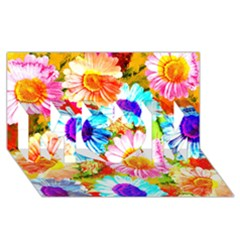 Colorful Daisy Garden Mom 3d Greeting Card (8x4) by DanaeStudio